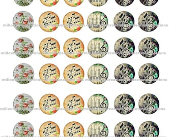 Music series 384-48 Digital Images - cabochons - 18 mm size - send by mail creations