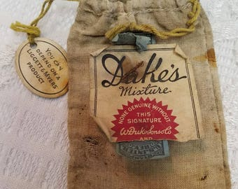 Duke's Mixture Cigarette Makings Bag with Internal Revenue Stamp from Feb. 26, 1926 Tobacco Collectible Free Shipping