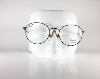 VENETO Vintage Eyeglasses Unisex Brown Metal Round 1990s VENF606Q-1