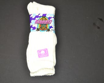 Vintage 1980's BALLSTON BAGGIES Slouch Push-Down Socks White 9-11 USA Made - New Old Stock