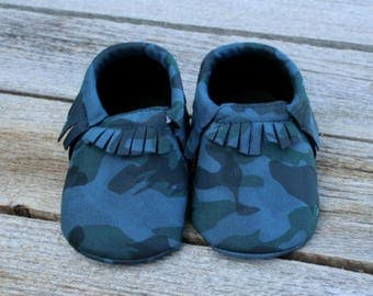 Blue Camo Baby Moccasins