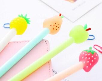 Gel pen with imitation of fruit