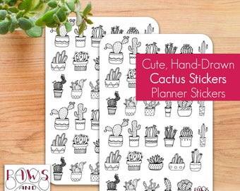 Bullet Journal Stickers  • Hand-Drawn Cactus Stickers • Cute Cactus Doodles • Kiss Cut • 66 Stickers • 16 Cute Designs • Planner Stickers