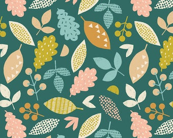 Cotton fabric - Dashwood Studio - Harvestwood leaves and berries of the forest - by 50cm (110 x)