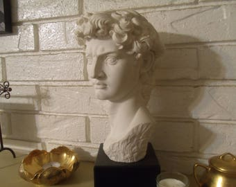 Italy Bust of David Large Casting Sculpture Artist Signed HIgh Quality Detalls