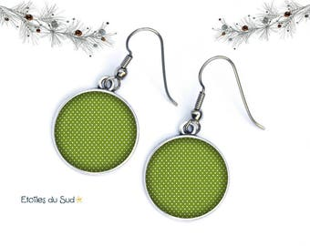 Green polka dot ear jackets, hooks, surgical steel, resin cabochon, ref.92