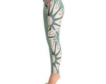 Lace flower leggings, boho flower leggings, white flower leggings