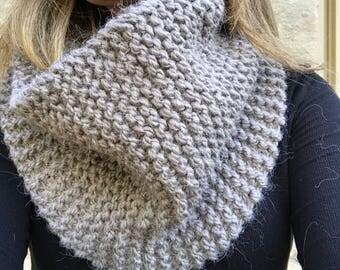 Hand Knit Chunky Gray Cowl Scarf - Alpaca Acrylic Blend - Gray Infinity Scarf - Knit Cowl Scarf - Cowl Infinity Scarf Gift - Ready to Ship