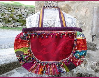 Bohemian red patch bag