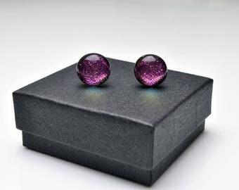 Pink dichroic stud earrings