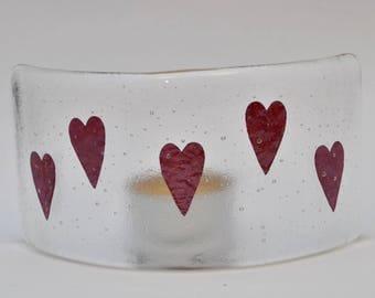 Heart fused glass nightlight curve