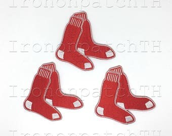 Boston Red Sox Embroidered Iron On Patch - Set 3 PCS.