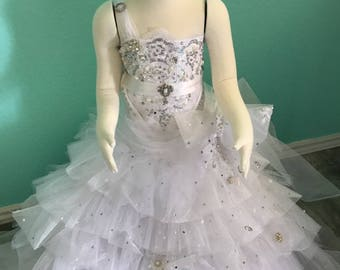 Mini bride georgeous organza pure white dress