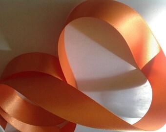 Double sided sateeen ribbon, soft orange no21