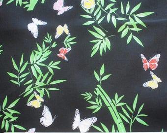 High quality cotton poplin, bamboo on black
