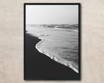 Black and White Photo, Waves Print, Sea Poster, Beach Wall Art Printable, Instant Download, Modern Art, Digital Print