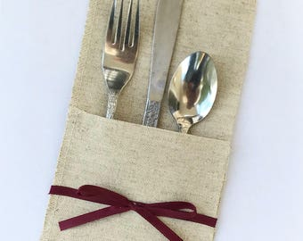 Burlap and Mulberry utensil holders