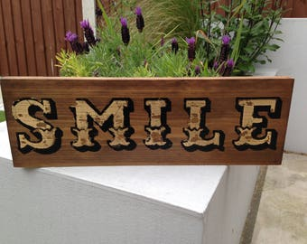 Vintage Hand Painted and Gold Leaf SMILE Sign