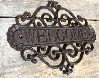 Welcome Sign, Cast Iron Welcome Sign, Rustic Welcome Sign