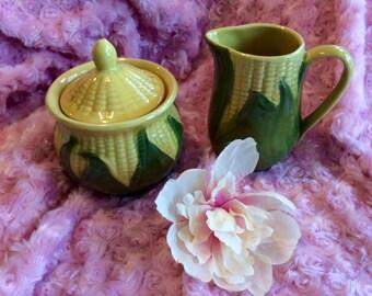 Shawnee corn creamer and sugar bowl set
