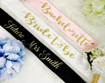 Bride to be sash, Bachelorette sash, bridal sash, bridesmaid sash, bridal party sash, wedding sash, custom sash, gift for bride, future mrs