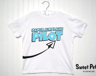 Paper Airplane Pilot Kids Shirt   paper airplane children shirt, airplane children shirt, kids hipster shirt, paper airplane kids shirt
