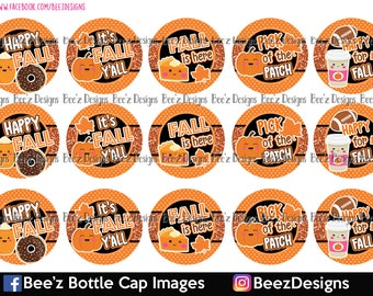 Orange Happy for fall- INSTANT DOWNLOAD- 1 Inch Bottle Cap Images