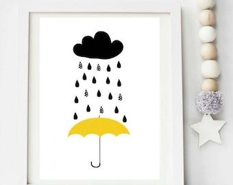 Playroom umbrella rain print