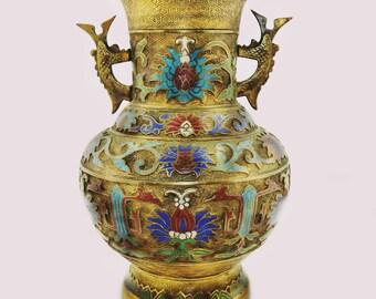 Decorative Arts Beautifully Detailed Champleve Vase