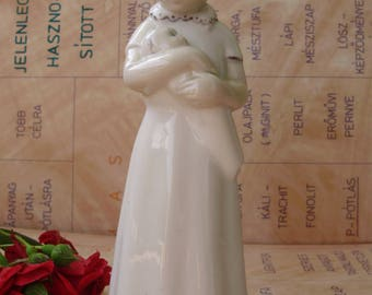 Vintage , Spanish porcelain child  figurine,lovely girl with baby ,handpainted,фарфоровая статуэтка