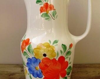 Vintage Hungarian Granit  porcelain jug,water jug,,Cottage chic,retro,stamped,hand painted