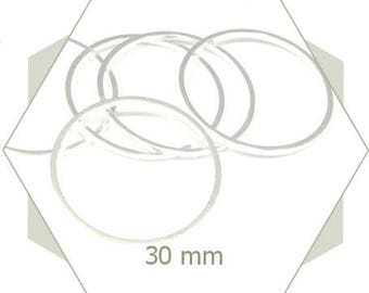 20 close-rounded-ring 30mm bright silver, connector, smooth circles, weaving frame, AA207