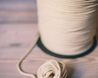 SALE 30 % Ivory white yarn- 100m / 109yd cord- polyester rope- knitting supplies- knitting yarn- craft supplies- macrame yarn- crochet yarn-