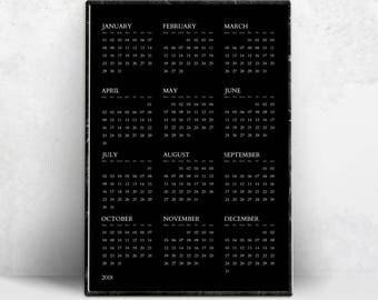 Black Year 2018 Calendar Printable, Minimalist Wall Poster, Simple Tumblr Print, Minimal Fine Calendars, Modern Room Decor, Instant Download