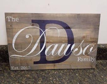 Established Date Wedding Sign, Personalized Family Name Sign, Pallet Last Name Sign,Last Name Custom Sign, Established Date Family Sign,