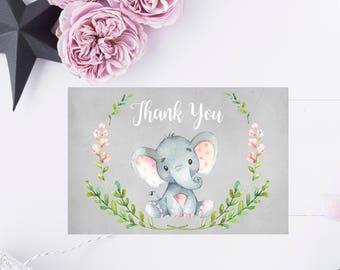 Watercolor Floral Thank You Card, Printable Elephant Thank You Card 6x4, Custom Thank You Card, Baby Shower Printable, Digital Print