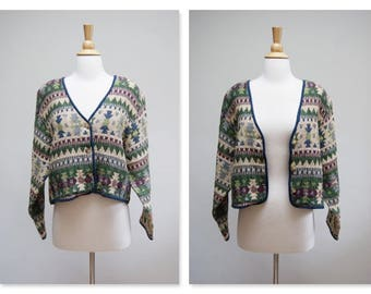 Vintage 90s Aztec Tapestry Blouse ⎮ 90s Southwestern Long Sleeve Top ⎮ Vintage Tribal Print Light Jacket