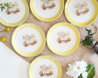 Make me Swan - set of 6 vintage dessert plates
