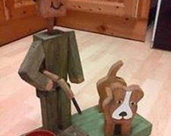 """WOODEN FLOWERPOT man OR woman """"hunter"""" design.garden ornament,gift"""