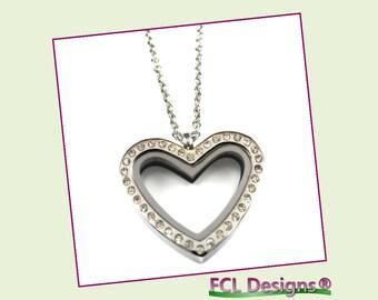 CZ Silver Regular Heart Floating Charm Locket Necklace