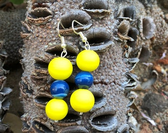 Coloured glass earrings