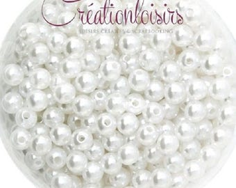 Set of 100 round beads Pearly acrylic white 6 mm