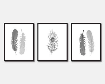 Printable Feathers Illustration 3 Feather Prints Wall Art Home Decor Grey Feather Trio Digital Download