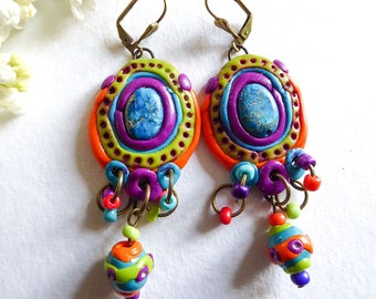Earrings, polymer clay and gemstone, lapis lazuli, flashy colors