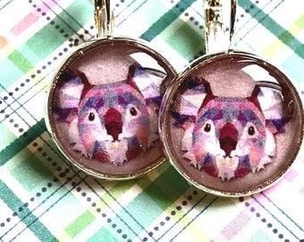 Handmade koala cabochon earrings- 16mm