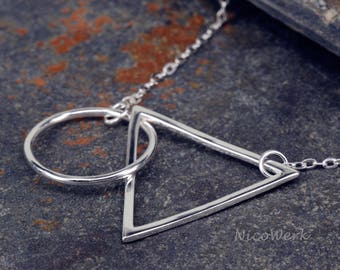 Silver necklace with pendant geometry necklace ladies 925 Silver Chain jewelry SKE177