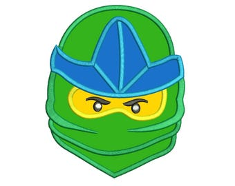 Lego Green Ninja Face Applique Design 3 sizes instant download