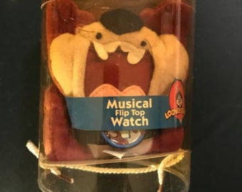 Looney Tunes Warner Brothers Musical Flip Top Watch Tasmanian Devil w/Plush Fig