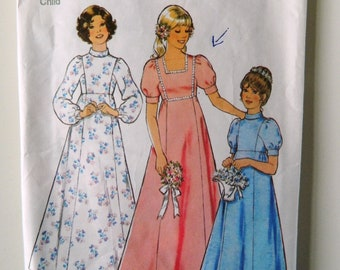 Simplicity Vintage Sewing Pattern  1218 Size 6 Chest 64cm Child's and Girl's Bridesmaid Dress 1975 1970s