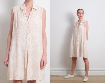 80s Ivory Pastel Print Sleeveless Shirt Dress / M